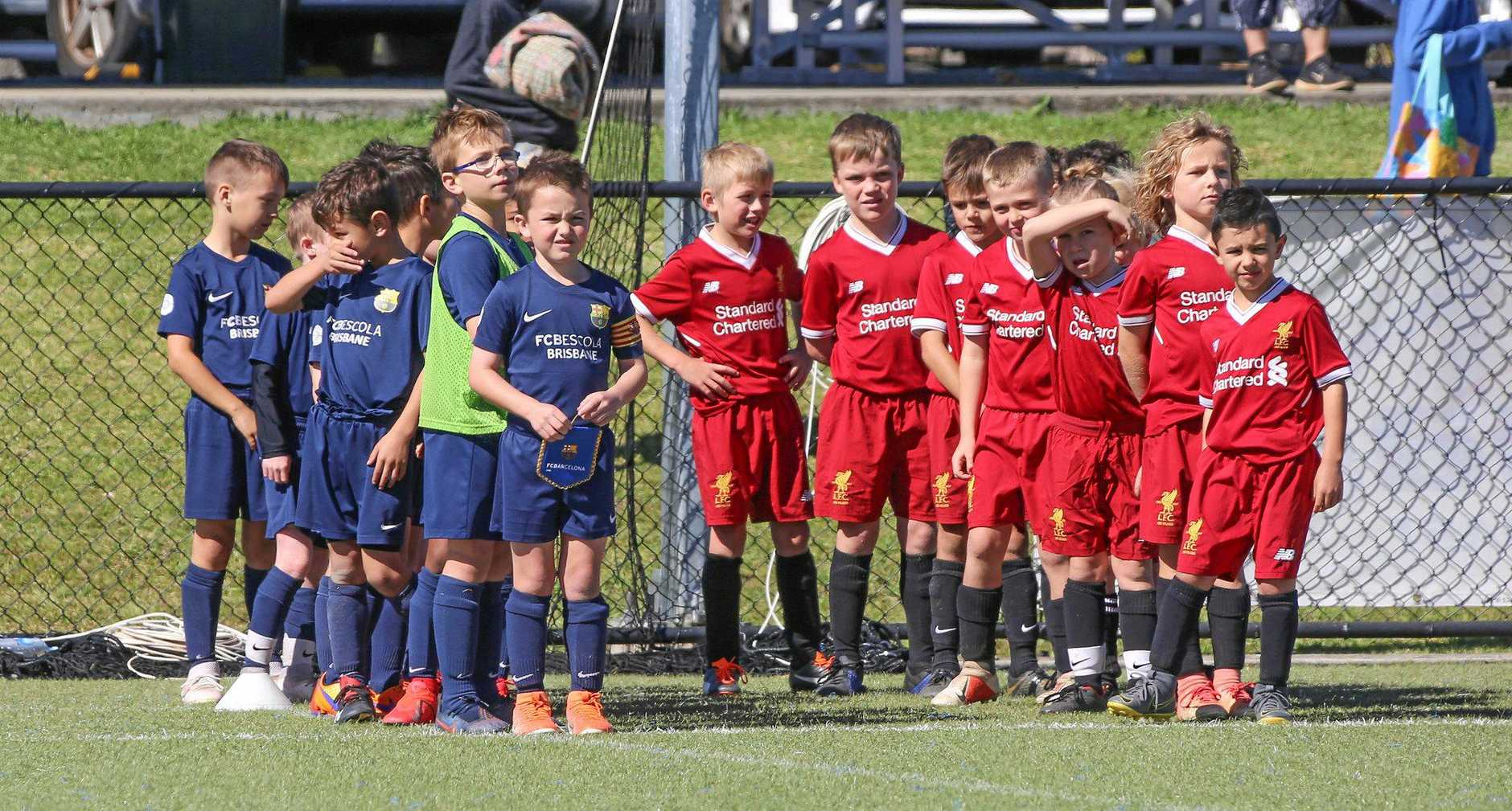 FRIENDLY MATCH: Boys from Brisbane's Barcelona and Lismore's Liverpool academies played against each other at the Southern Cross Football Centre on Sunday.
