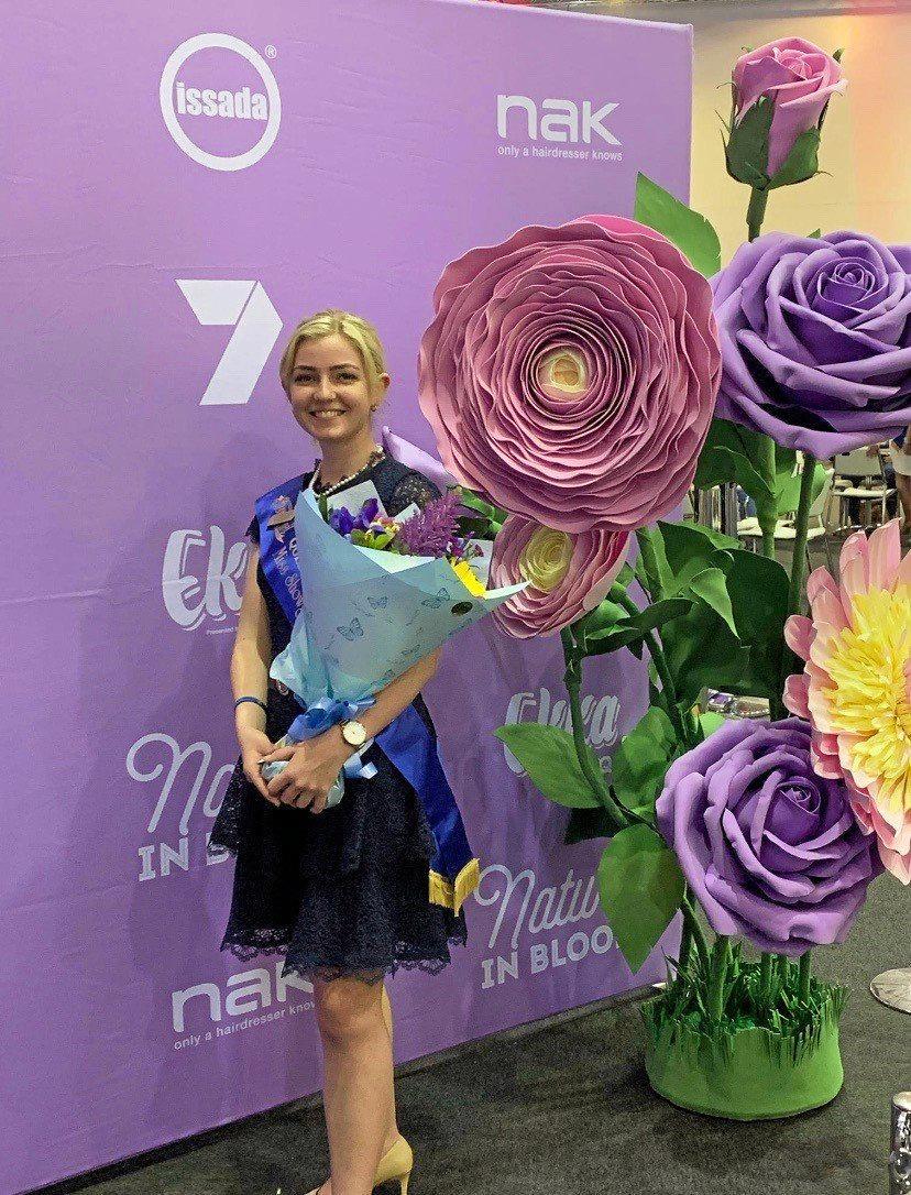 FLOWERS: South Burnett Miss Showgirl Teagan Hall at the 2019 Brisbane Ekka.