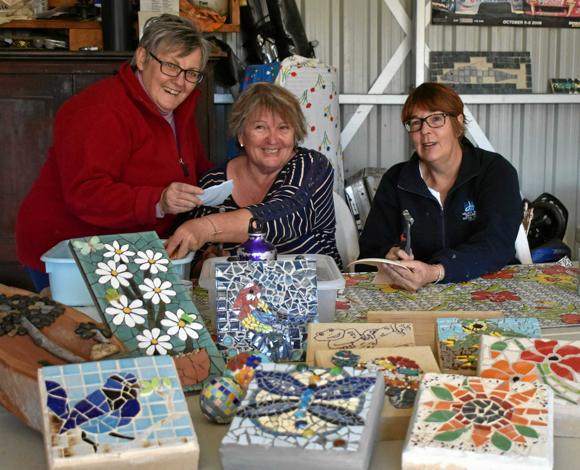 GETTING ARTY: Kathy Williams, Margy Dawson and Annette Davies of the U3A Mosaics group.