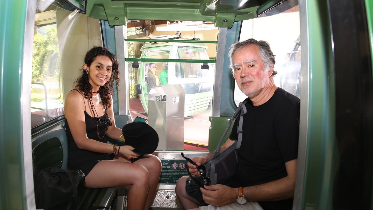 Chilean stab victim Constanza Escudero and her father Hugo on Skyrail. PICTURE: ANNA ROGERS