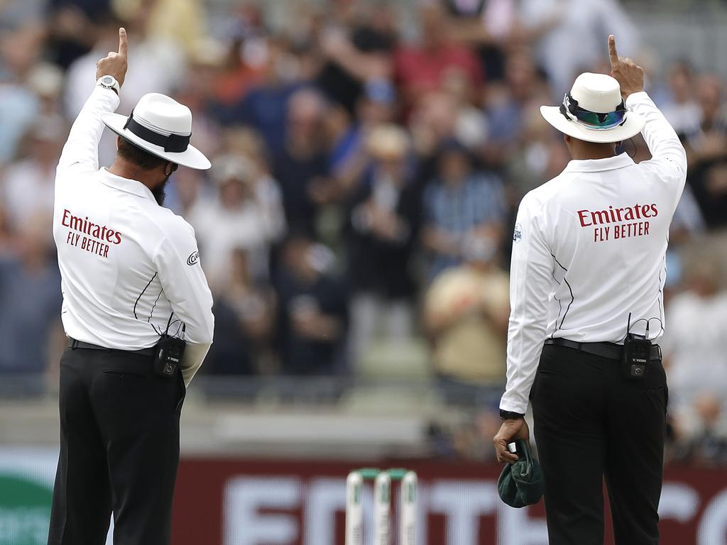 Umpires (L-R) Aleem Dar and Joel Wilson came under heavy criticism for their performances in the first Ashes Test. Picture: Ryan Pierse/Getty Images