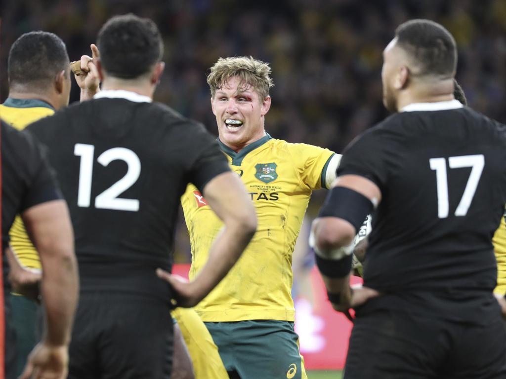 Australia's Michael Hooper celebrates a try. (AP Photo/Trevor Collens)