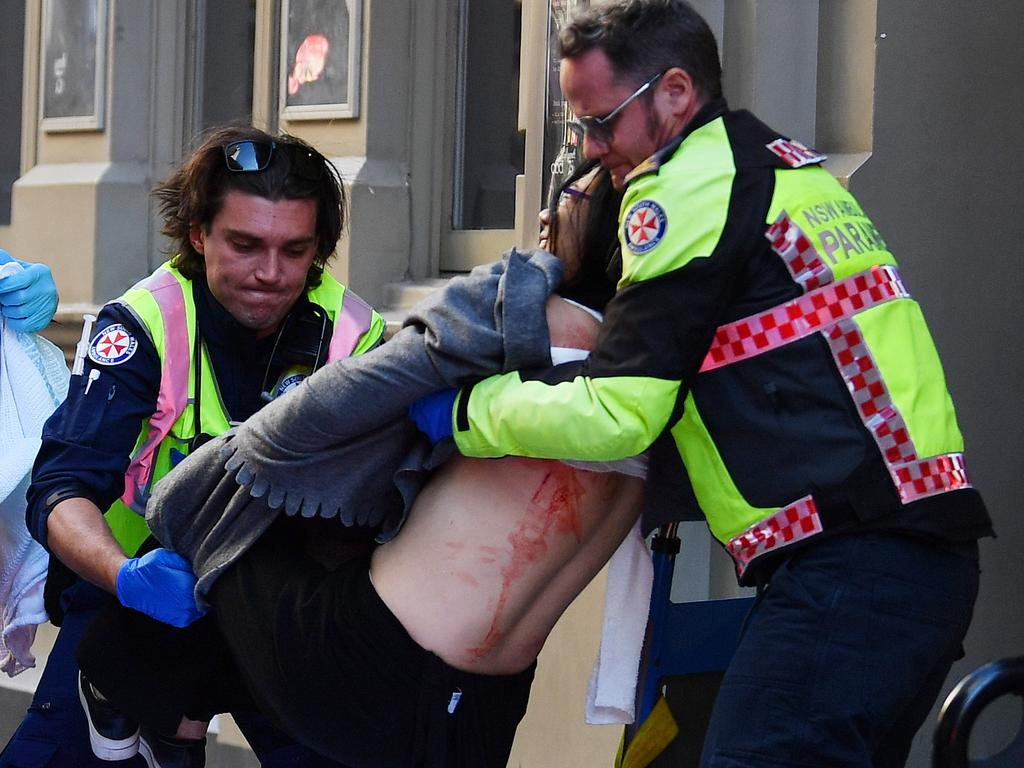 The woman was taken to St Vincent's Hospital. Picture: Dean Lewins/AAP