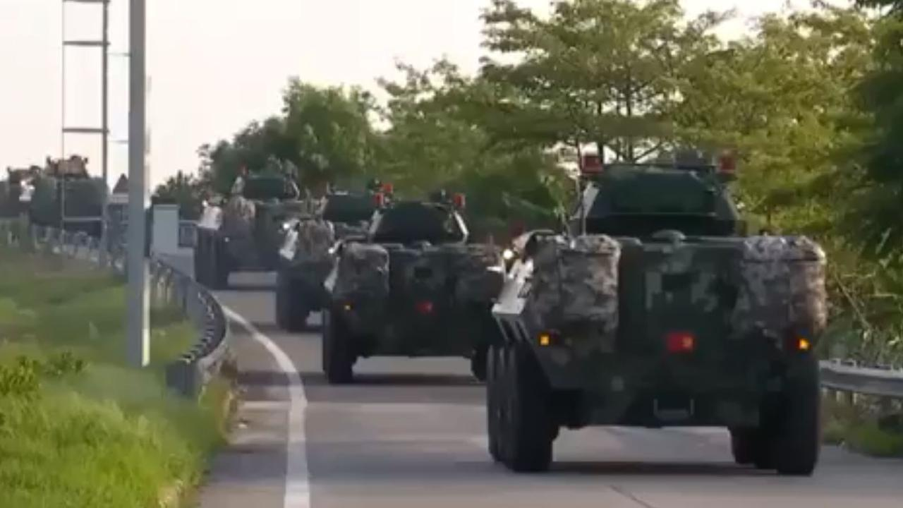 The footage shows army tankers purportedly moving towards the Hong Kong border.