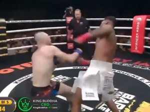 Horrific moment boxer face plants