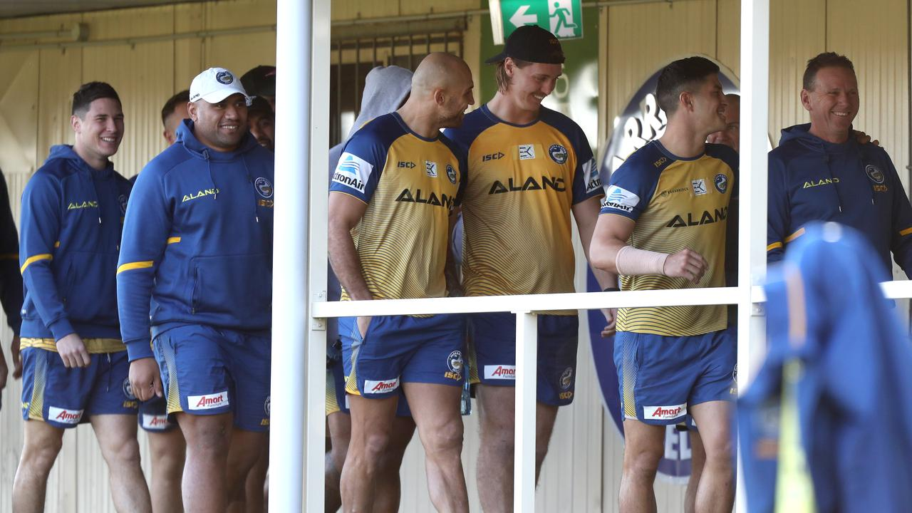 Lane joins teammates at Parramatta training. Photo: Jonathan Ng