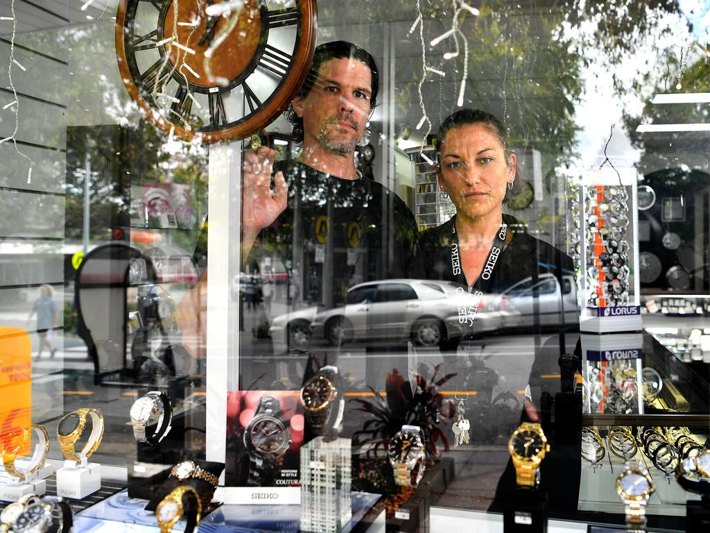 Kieren Martinuzzi and Keira Fiorenza at Nambour Jewellers have had a gutful of the crime in their town.