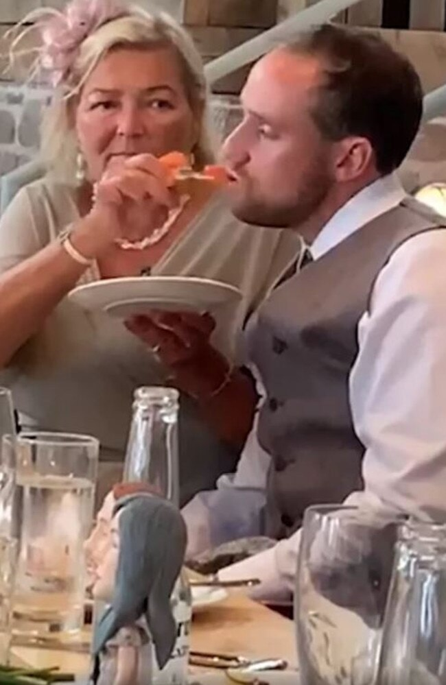 A groom got so drunk he had to be fed by his mother-in-law at his wedding. Picture: Facebook / Unilad