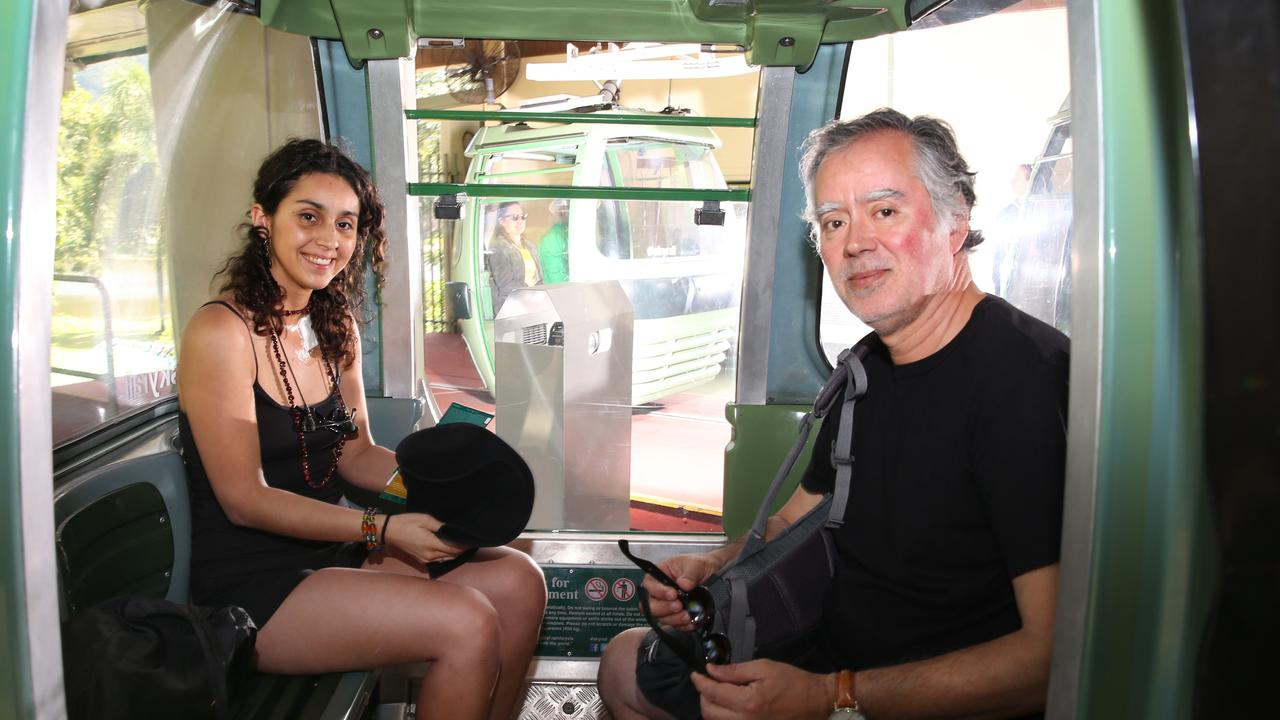 Chilean stab victim Constanza Escudero and her father Hugo on Skyrail. PICTURE: ANNA ROGERS