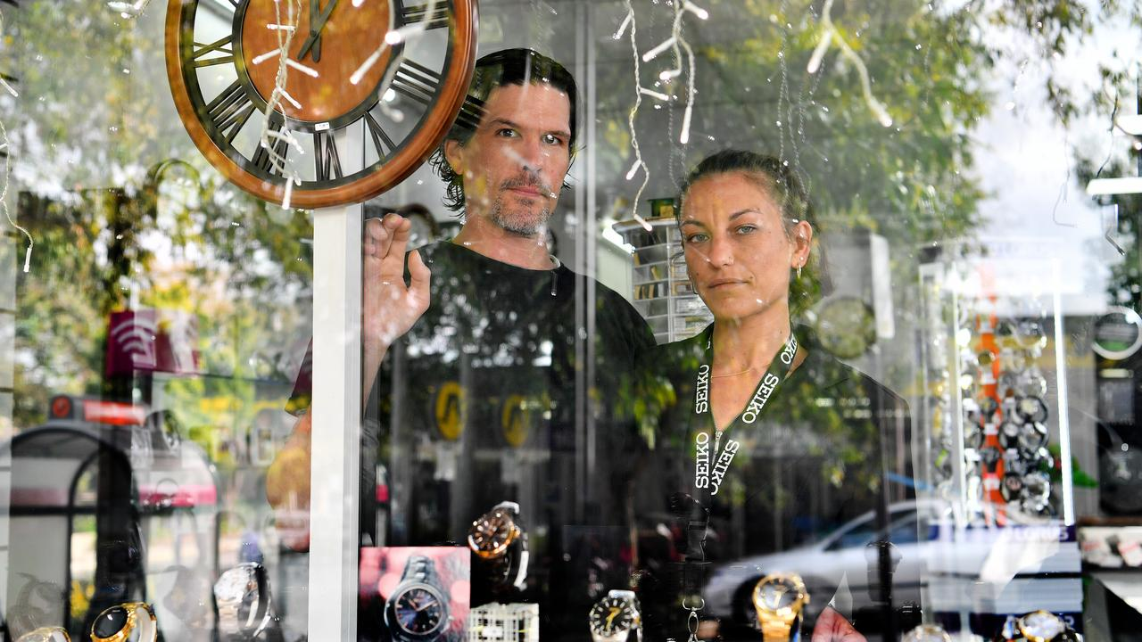 Kieren Martinuzzi and Keira Fiorenza at Nambour Jewellers which has been broken into at least five times in five years.