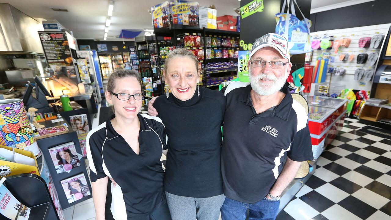 Pit Stop store owners Mr and Mrs John and Julie Romanin with there Daughter Natalie Romanin pictured in there Surfers Paradise Convenience store. Pic Mike Batterham