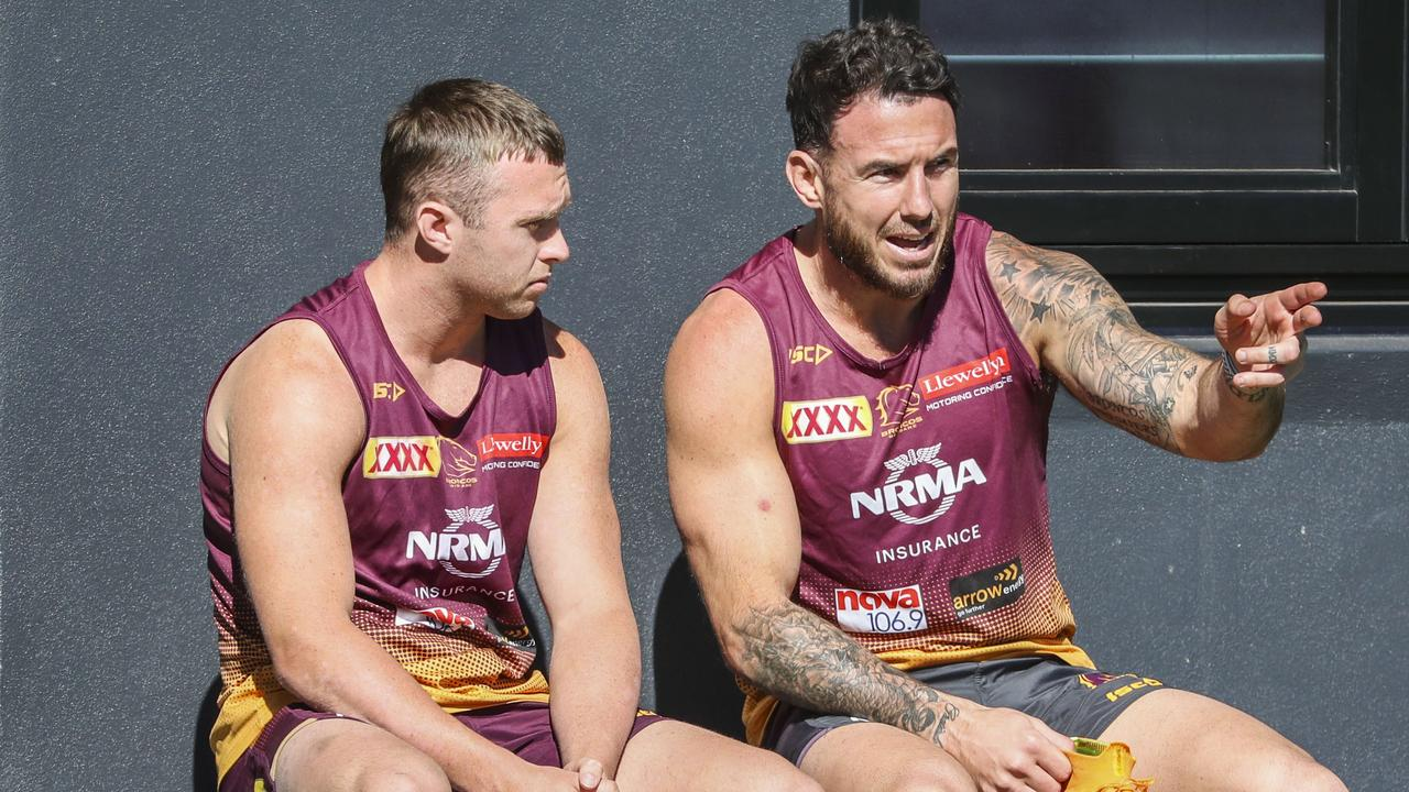 Brisbane Broncos player Jake Turpin and Darius Boyd are seen during a team training session in Brisbane, Monday, August 12, 2019. (AAP Image/Glenn Hunt) NO ARCHIVING