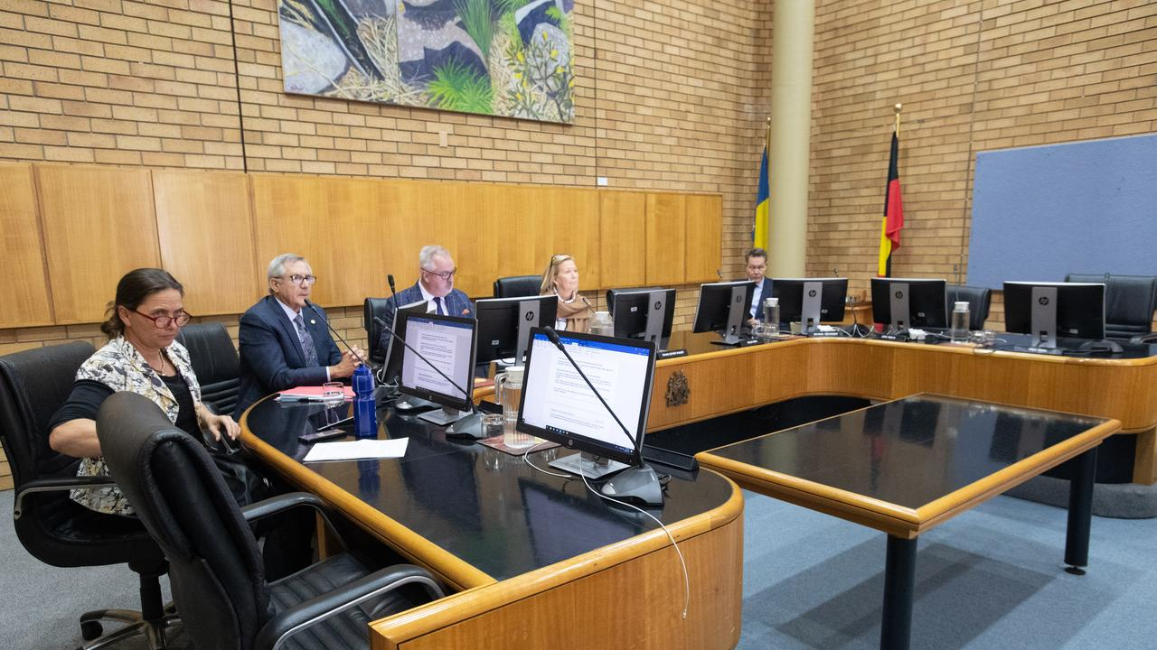 Crs Sally Townley, Ceorge Cecato, general manager Steve McGrath, Mayor Denise Knight and Cr Michale Adendorff waiting for the remaining councillors to return to the chambers on July 27.