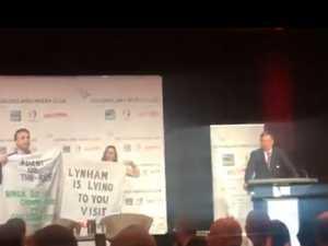 'Lynham is a liar': Adani protesters crash speech