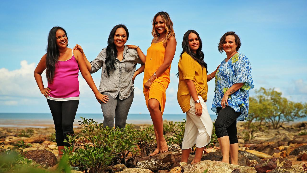 Jessica Mauboy pictured in Darwin with her sisters Sandra, Jenny, Jessica, Cathy and Sophia