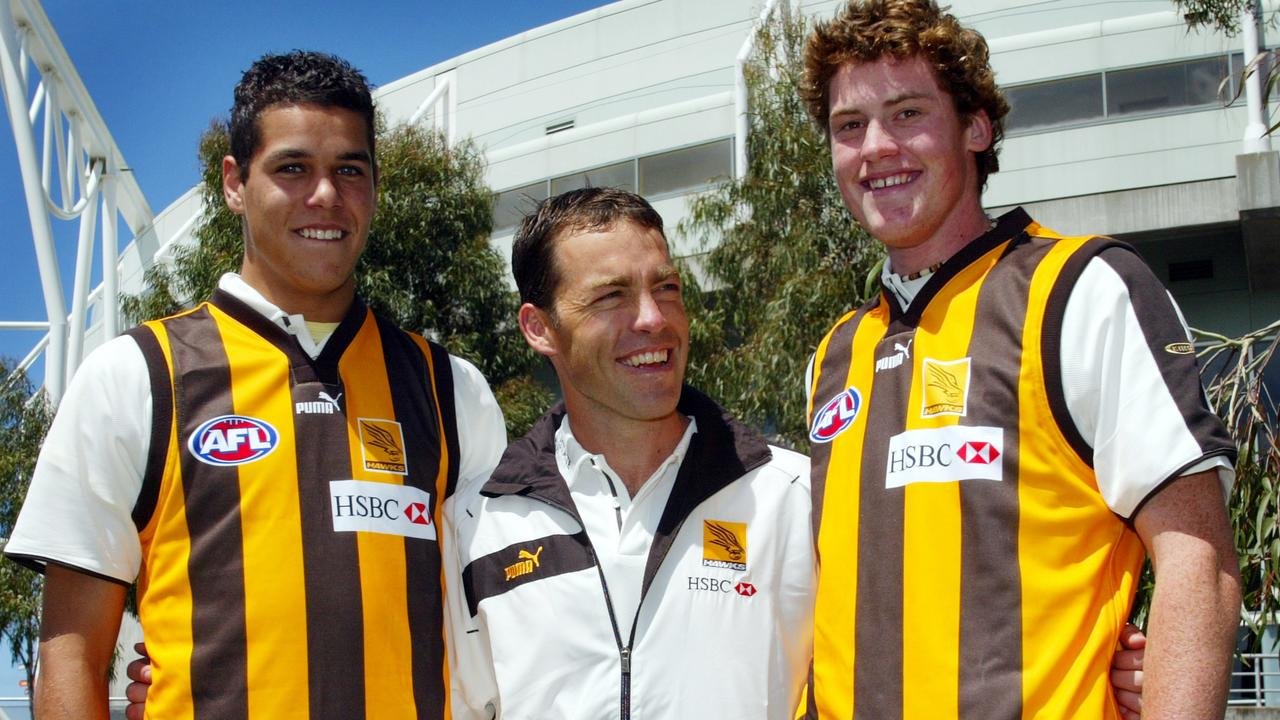 Hawthorn coach Alistair Clarkson with his first two draft picks, Jarryd Roughead and Lance Franklin.