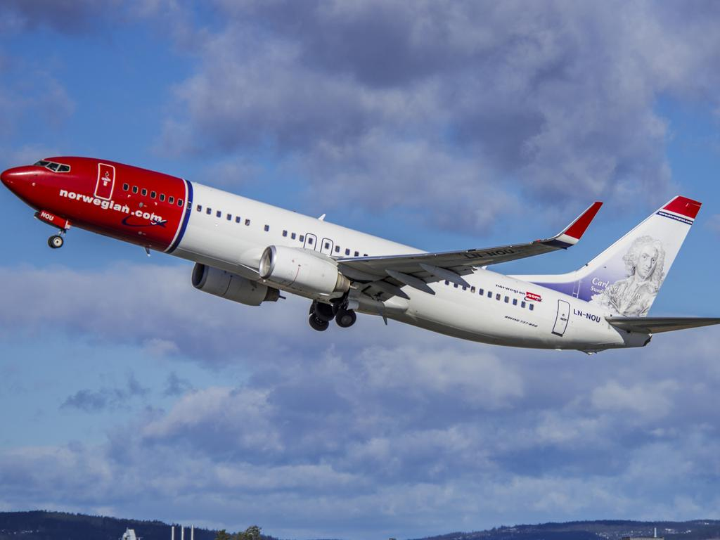 The shards fell from a Norwegian Air plane. File image. Picture: Norwegian Airlines