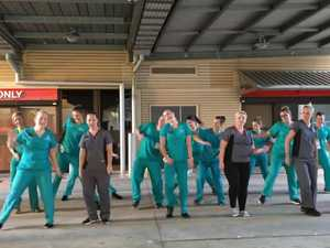 Ipswich Hospital emergency department nurses dancing the #gitupchallenge