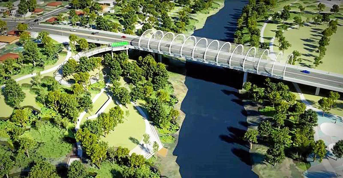 An artists impression of the proposed Norman Street Bridge that will probably never be built.