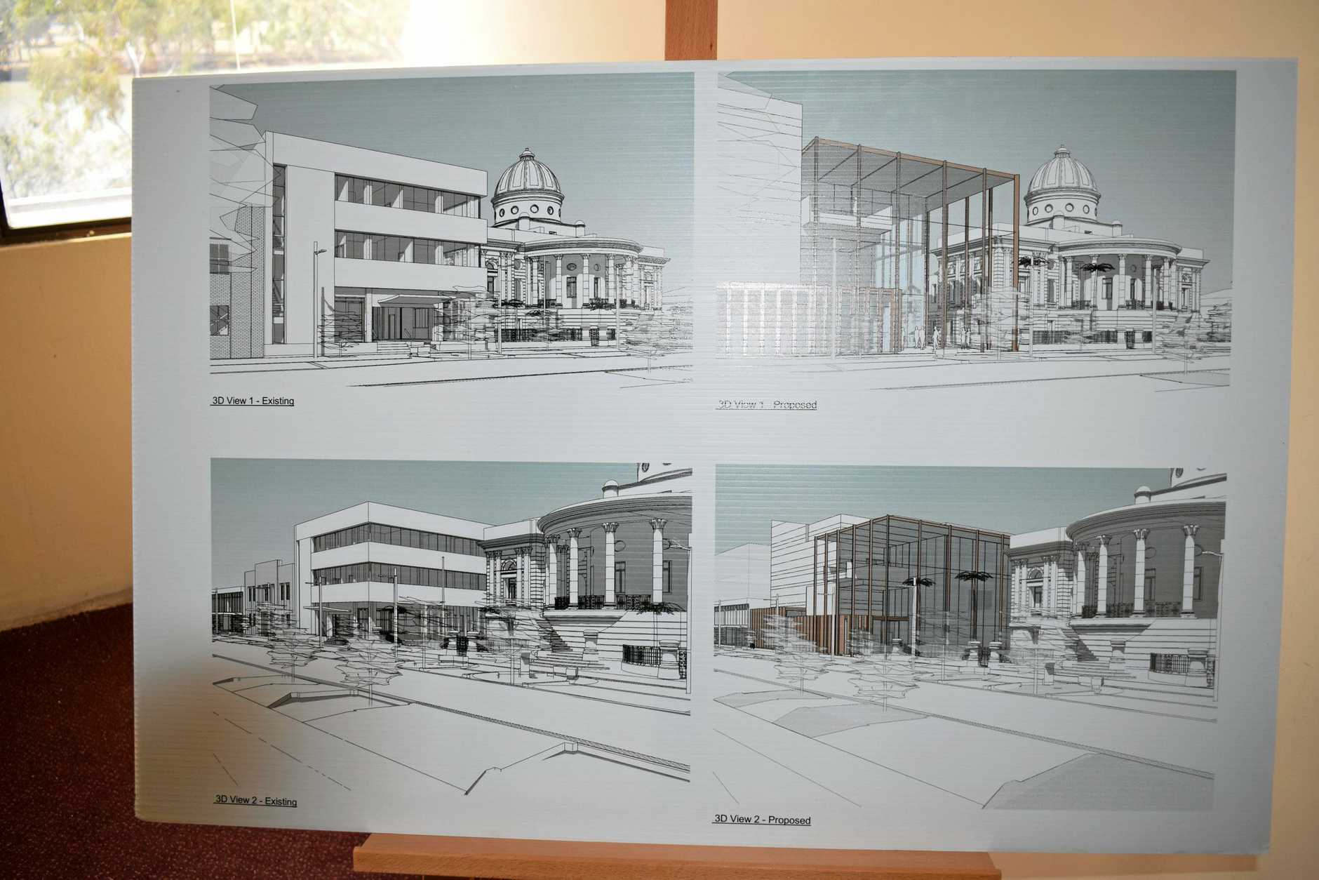 GALLERY PLANS: These concept plans for the new Art Gallery were set up at the demolition site.