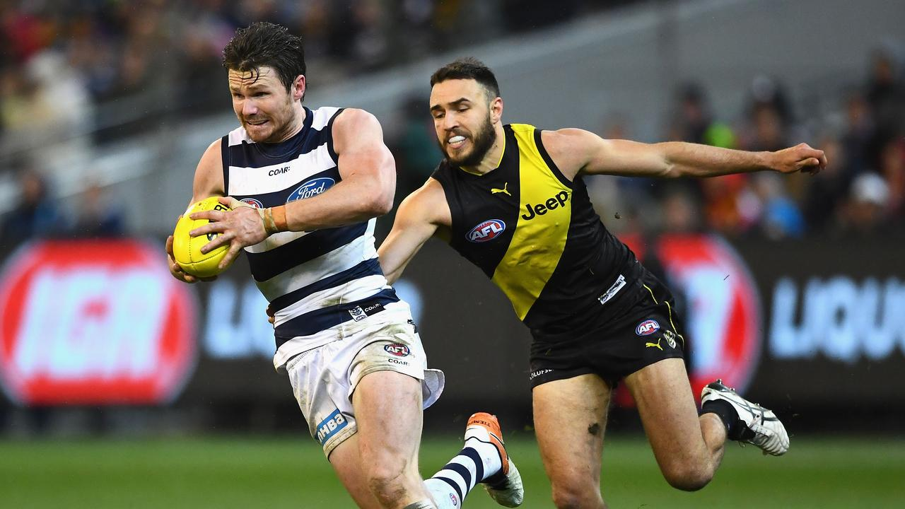Patrick Dangerfield and Shane Edwards' teams might meet again in an MCG blockbuster. Pic: Getty Images