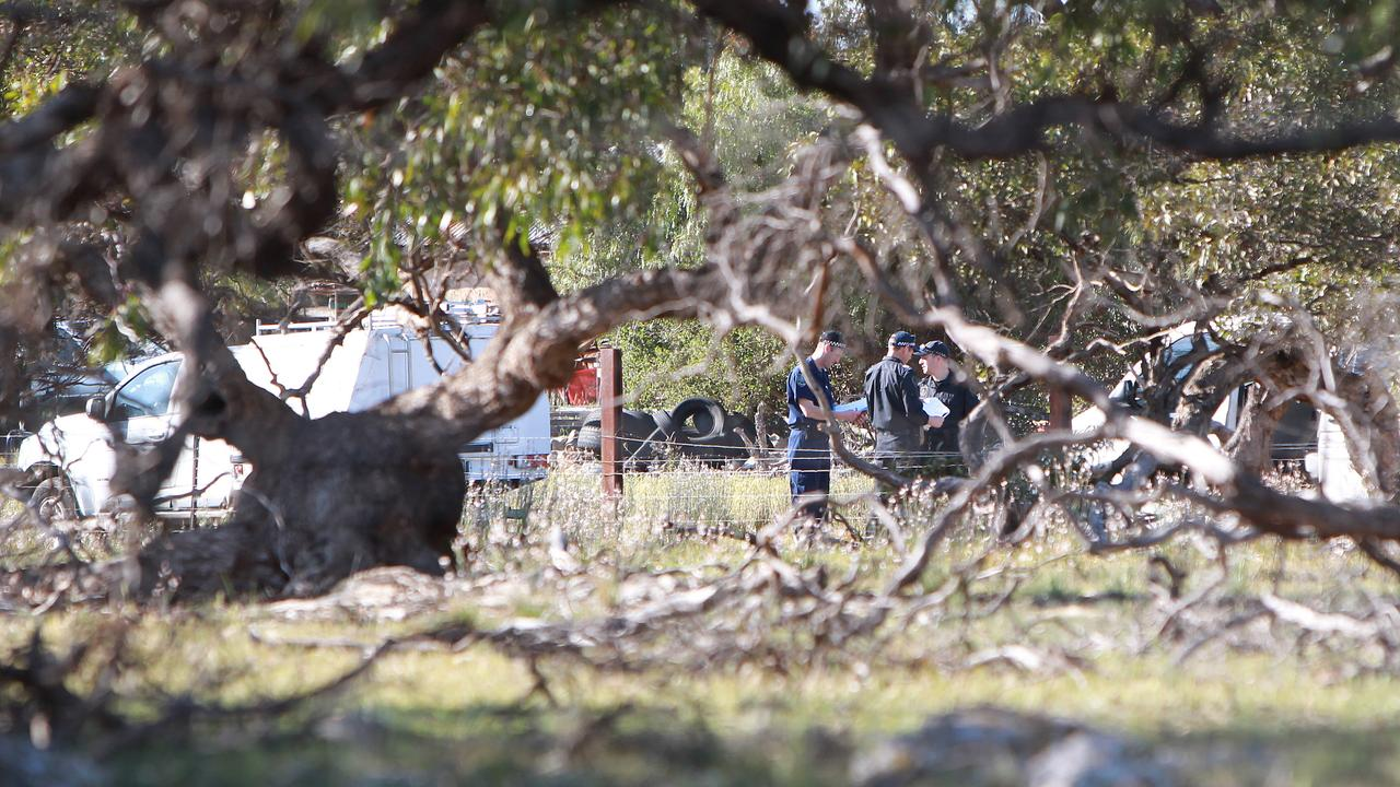 Police at the scene where Alexander Kuskoff was fatally shot by a police sniper during a siege at his Elwomple Rd property, near Tailem Bend. Picture: Dylan Coker