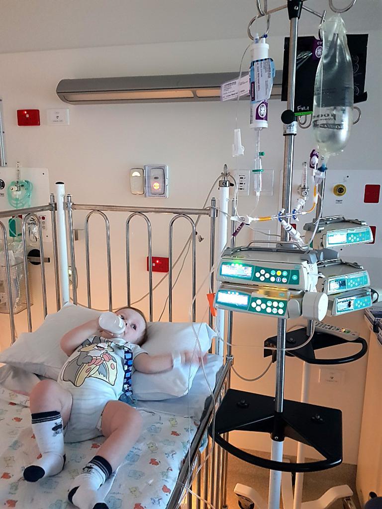 Woombye 1-year-old Davis Kendall is battling leukaemia at the Queensland Children's Hospital.