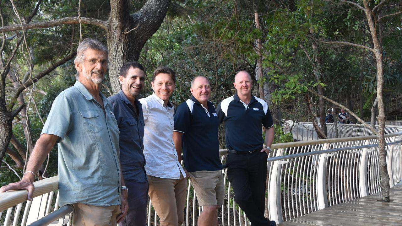 Peter Thompsett, Grant Calder and Noosa Council project manager Adam Britton with Joe Fry and Michael Michell of Hutchinson Builders, happy men after the delivery of Park Road's Boardwalk upgrade eight weeks ahead of schedule in October 2018. Photo: Caitlin Zerafa
