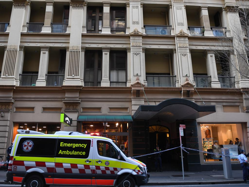 After Ney was apprehended, the body of a woman, 21, was found in an apartment on Clarence Street. She had been stabbed to death. Picture: AAP