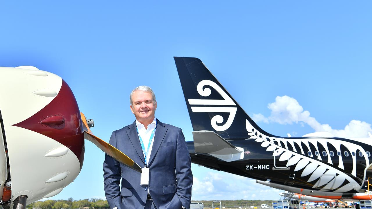 Sunshine Coast Airport CEO Andrew Brodie on the tarmac at Sunshine Coast Airport to celebrate 60 years since the first landing.