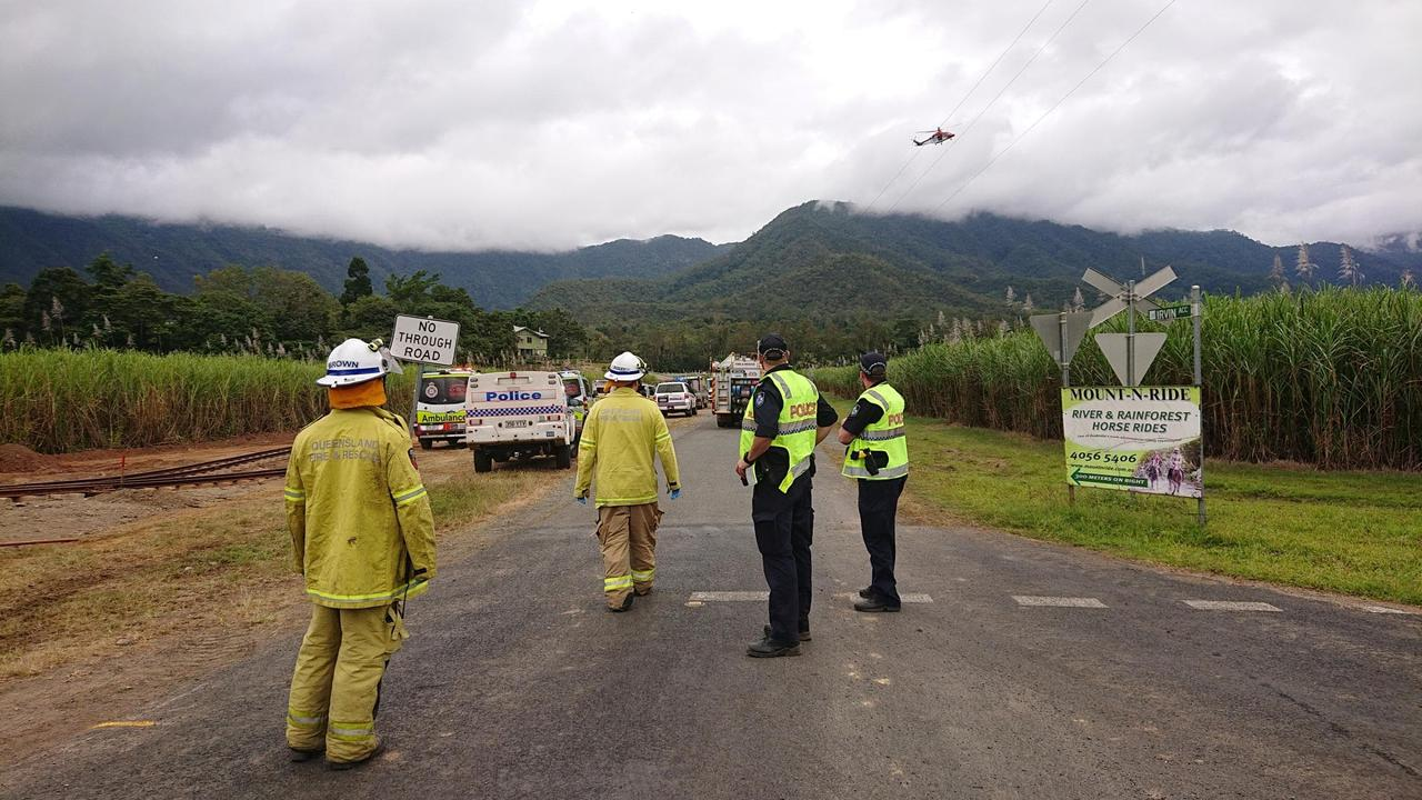 A rescue chopper can be seen on Little Mulgrave Rd in Goldsborough where two patients are being treated after a crane came into contact with a powerline. PICTURE: ANNA ROGERS