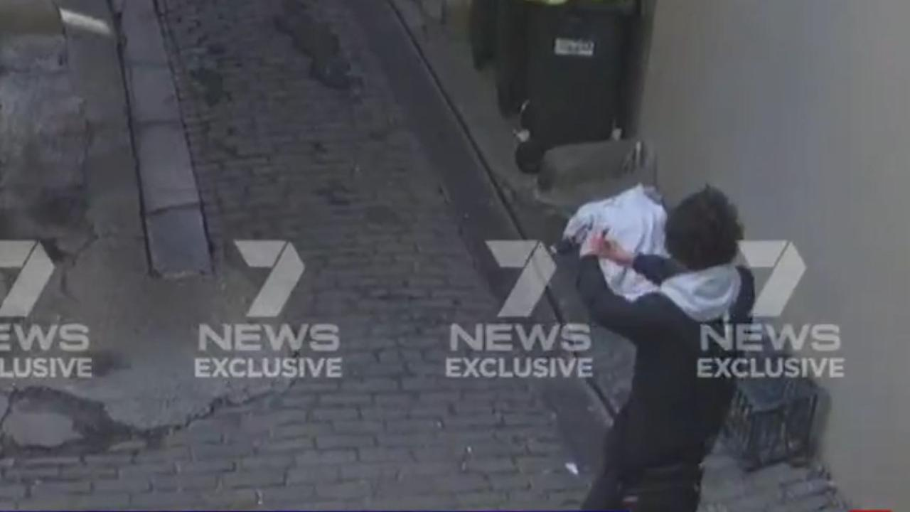 Mert Ney on CCTV appearing to take a selfie. Picture: 7News