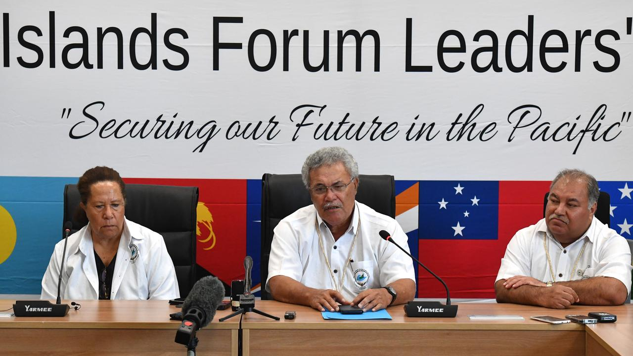 From left to right: Pacific Island Forum Secretary General Dame Meg Taylor, Tuvalu's Prime Minister Enele Sopoaga and Nauru's President Baron Waqa. Picture: Mick Tsikas/AAP