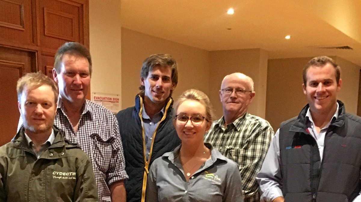 TIDYING UP: Dr Matt Ball, beef producer Kerrod Pierce, Dr Neil Farmer, Kate Jackson, from the Fitzroy Basin Association, and producer Donald McCartney.