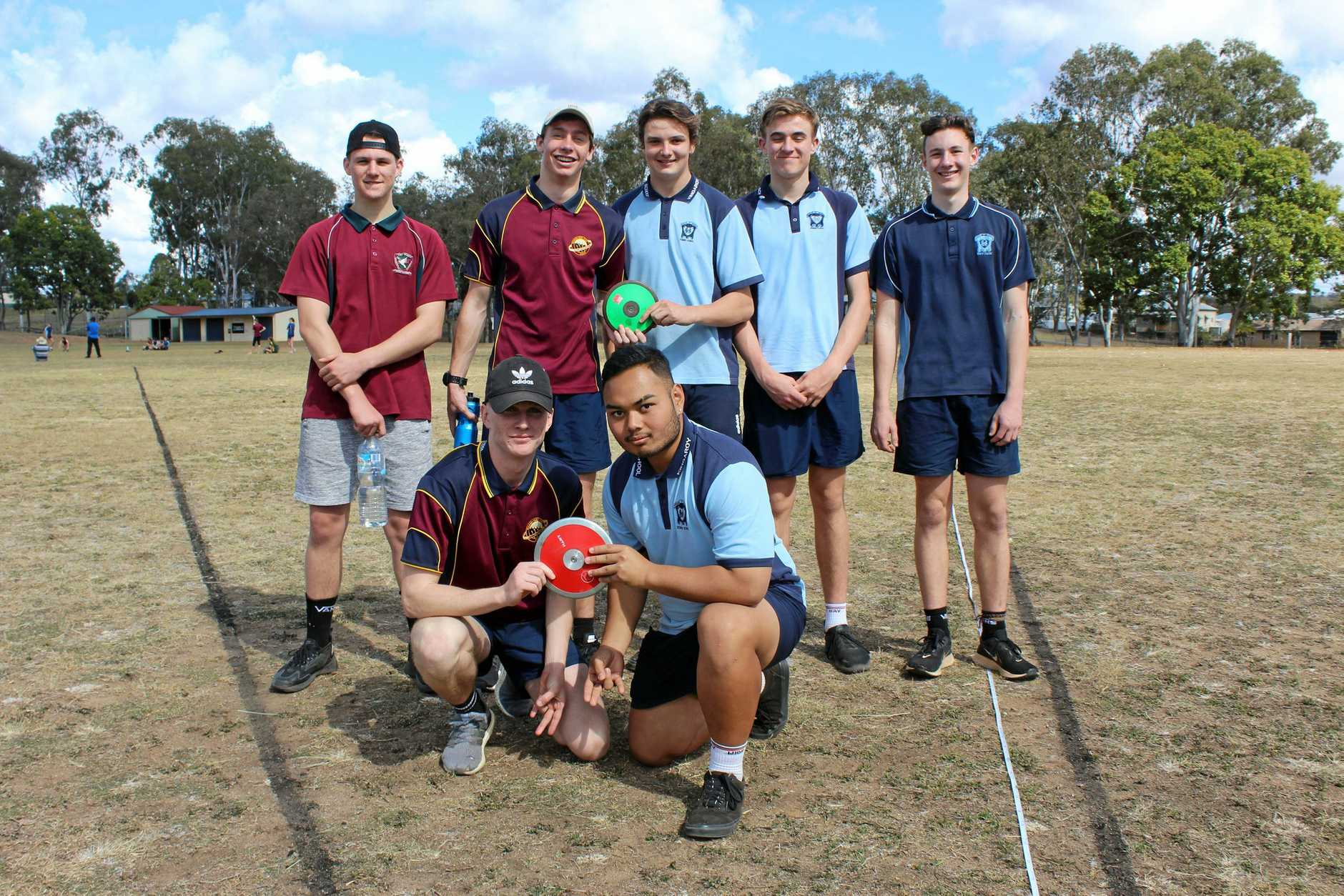 Patrick Gentry and Ryan Macasaet (front) and Jesse Mould, Mathew Early, Declan Hutchinson, Jaxson Walters and Gordon Miners competed in the under-17 boys discus.