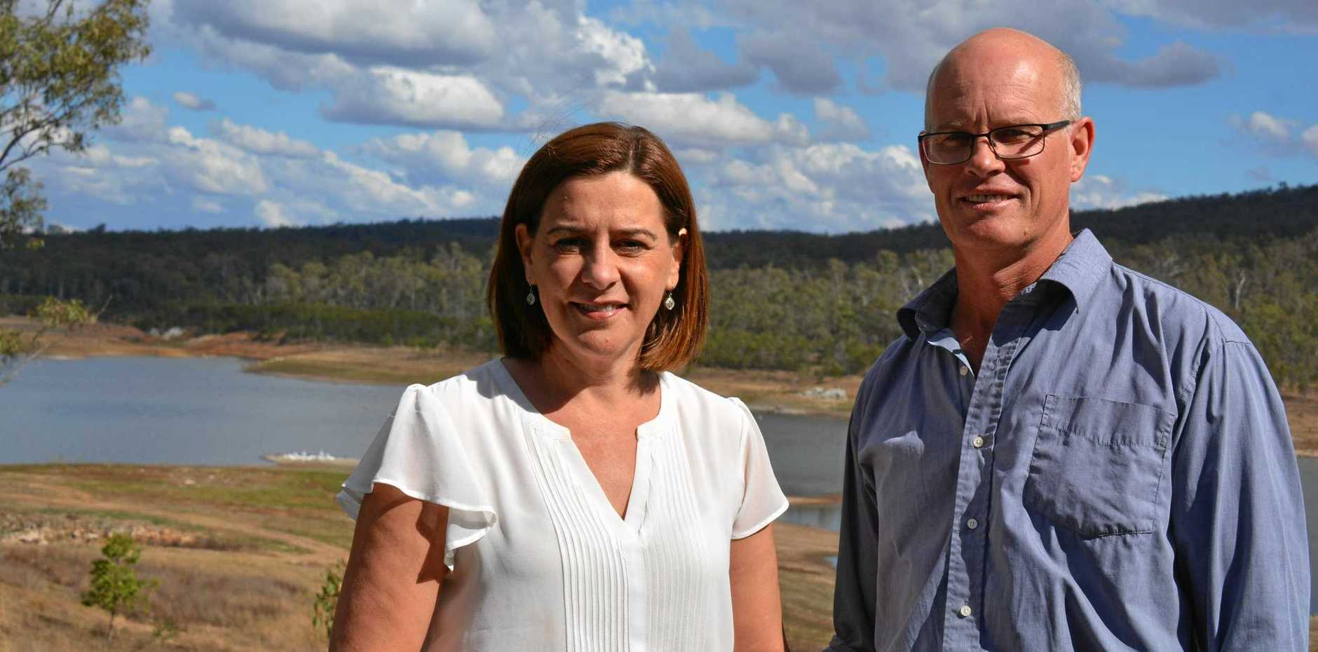 NO RELIEF: Nanango member Deb Frecklington and Chairman of the Irrigator Advisory Comittee Stuart Nicholson are concerned about the low levels at Bjelke Petersen Dam.
