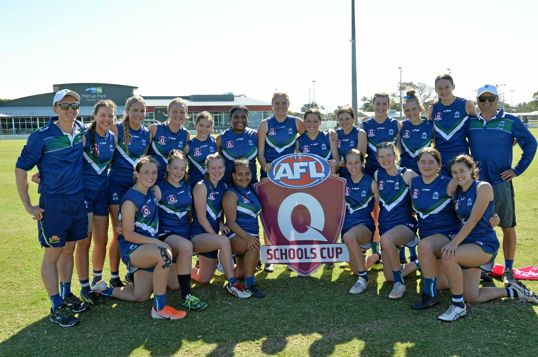 The Cathedral College's victorious senior girls AFL team (back row, from left) coach Michael Rose, Holly Clarke, Rahni Parle, Sara-Jane O'Grady, Melanie Hamilton, Akausher Savage, Liezel Viljoen, Ashleigh Toomey, Remmie Whitehead, Anna Childes, Georgia Abbott, Isabelle Shearer, and assistant coach Andrew Prince, and (front row) Lili-Jayne Hass, Cordell O'Meara, Lucy Busby, Shontay Hockley, Ainslie Humble, Nicola Hill, Bianca Taylor and Jaya Acutt.