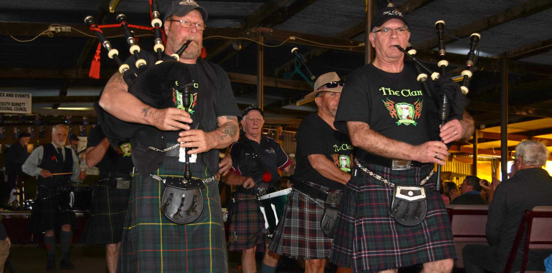 ICONIC SOUND: Contemporary pipes and drums band The Clash play their way off the stage at Scots in the Bush at Boondooma Homestead