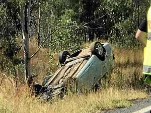 Emergency crews treat woman after car rolls near Gympie
