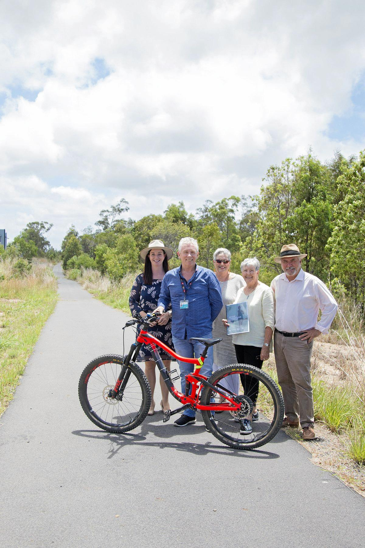Member for Keppel Brittany Lauga and Mayor Bill Ludwig with Jan Boyd, Linda McLuskie and John Fitzgerald from the Friends of the Rail Trail/Cap Coast Bicycle User Group, excited to see the next stages of the Capricorn Coast Pineapple Rail Trail take shape.