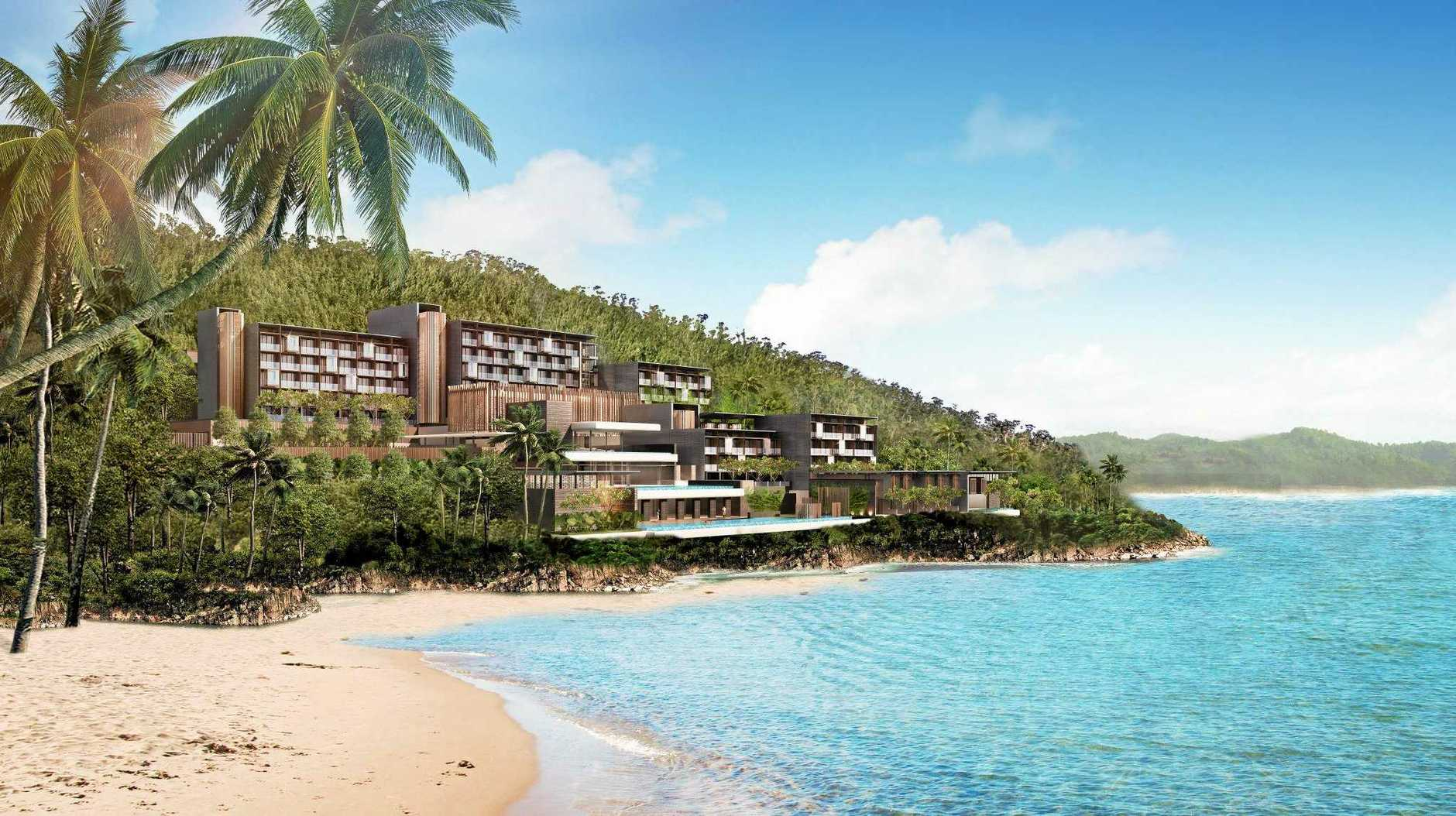 An artist's impression of the luxury hotel to be built at Funnel Bay.