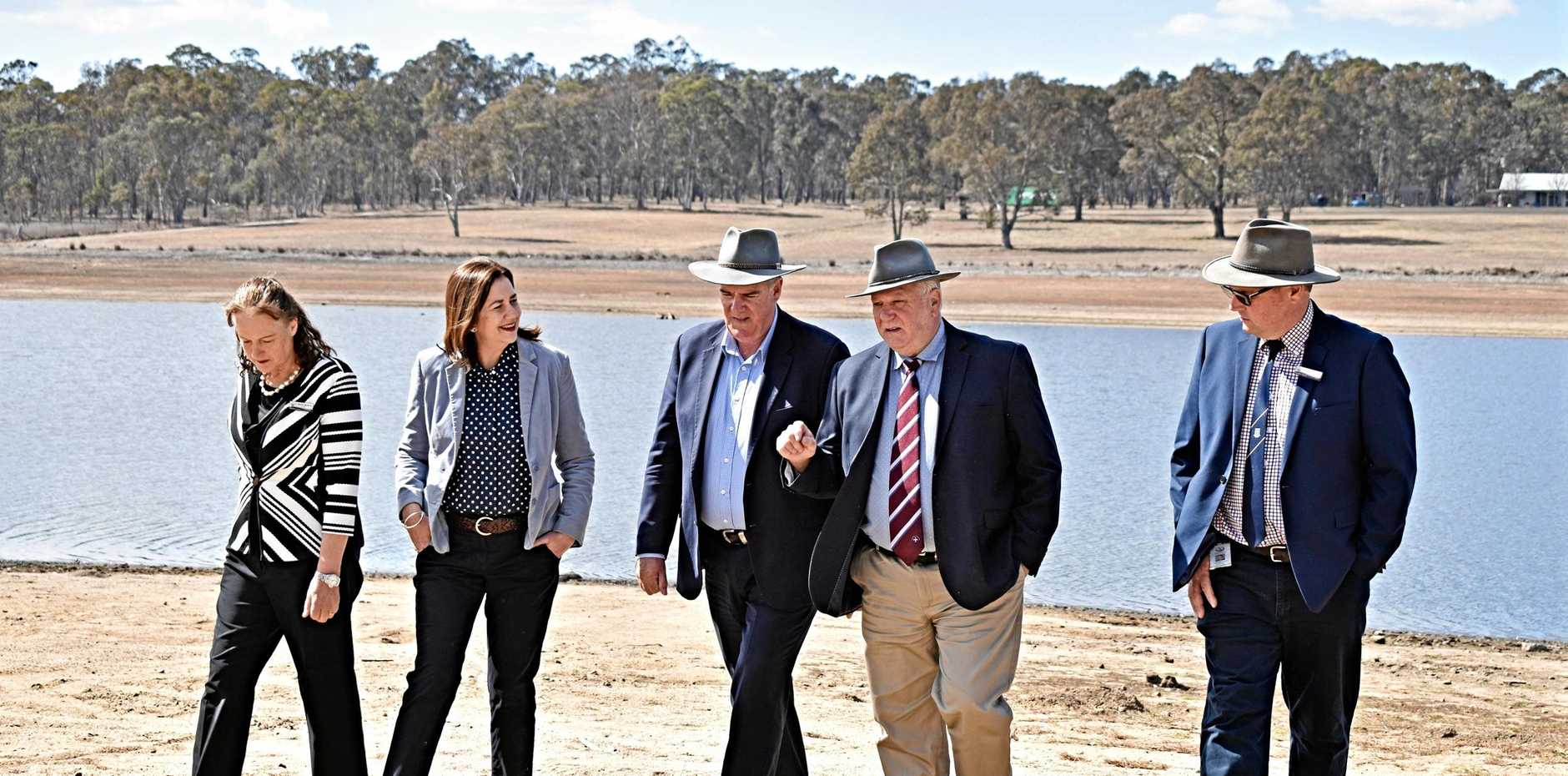 SEEING UP CLOSE: Queensland Premier Annastacia Palaszczuk visited Storm King Dam with Minister for Agricultural Industry Development and Fisheries Mark Furner and Southern Downs councillors Cameron Gow, Marika McNichol and Vic Pennisi.