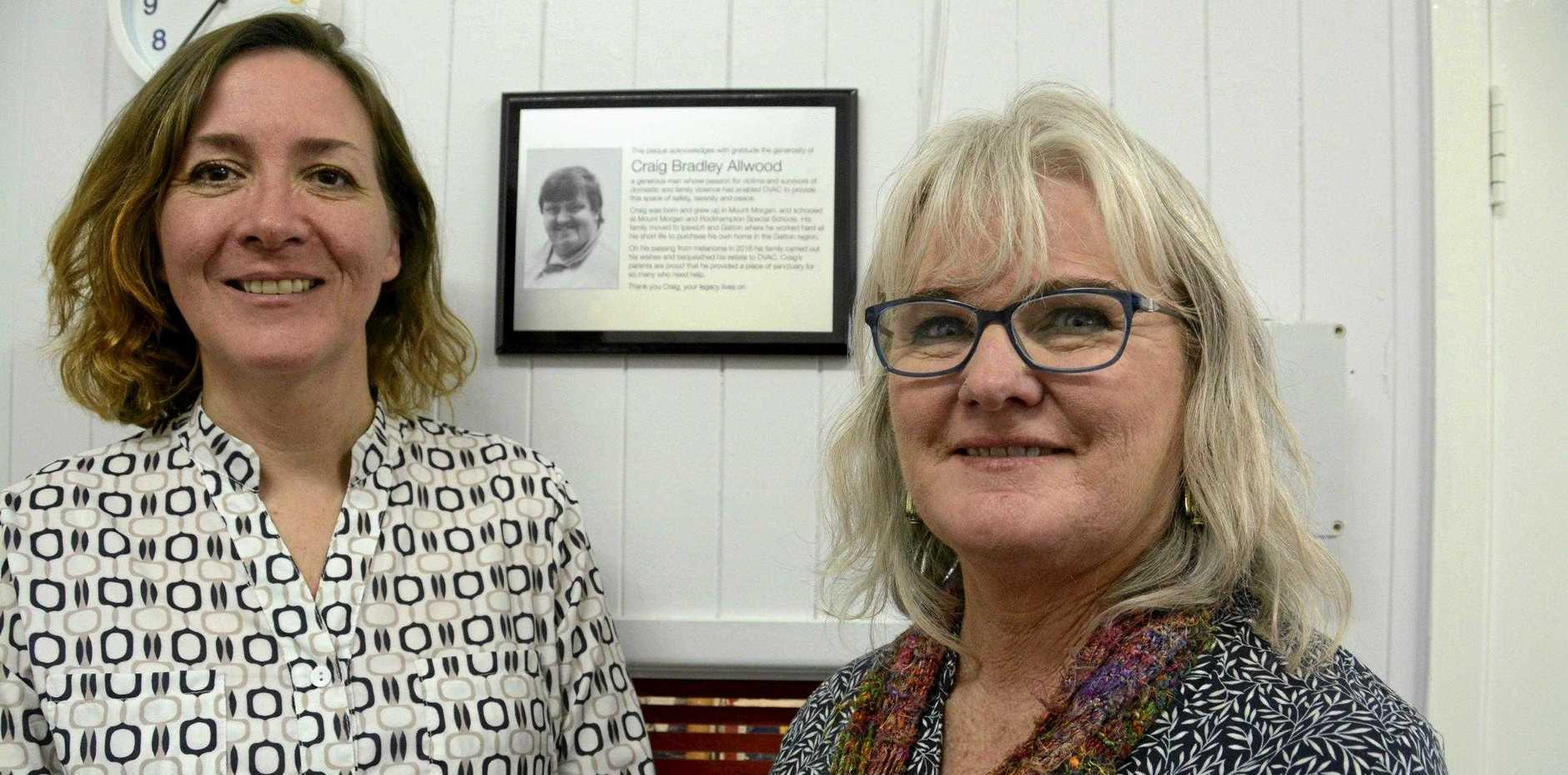 GENEROUS DONATION: DVAC's CEO Gabrielle Borggaard (left) and regional manager Kath Turley dedicated a room in their Toowoomba CBD centre to deceased Gatton man Craig Allwood, who donated his estate to the organisation.
