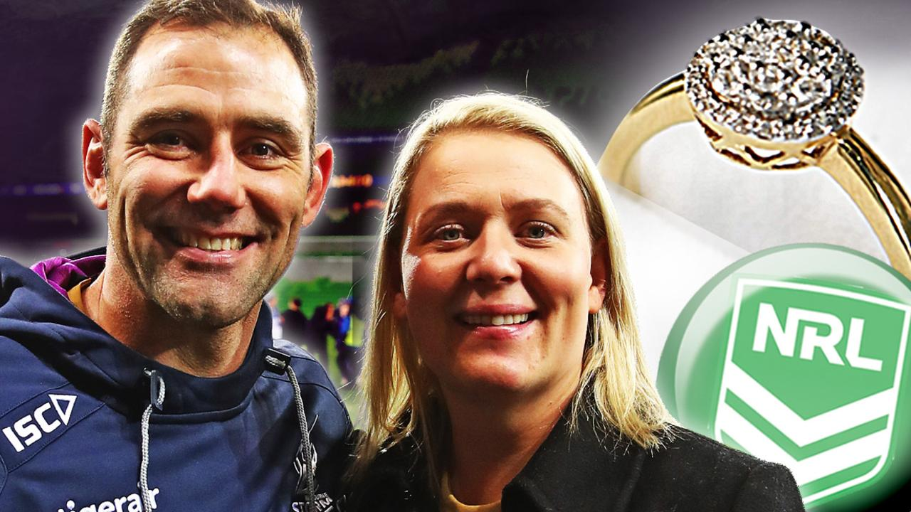 Cameron Smith and his wife Barb, who was gifted a ring (not the one picture) by the NRL.