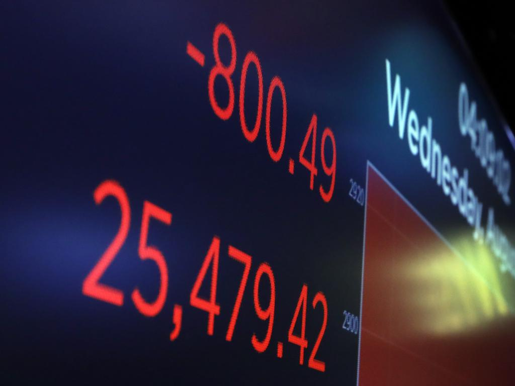 A board above the trading floor of the New York Stock Exchange shows the closing number for the Dow Jones industrial average after it sank 800 points following a warning sign about a possible recession for the first time since 2007. Picture: AP Photo/Richard Drew.