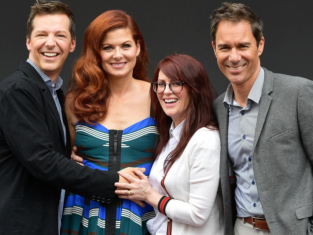 (L-R) Actors Sean Hayes, Debra Messing, Megan Mullally, and Eric McCormack announce the Will & Grace reboot in 2017. Picture: Getty