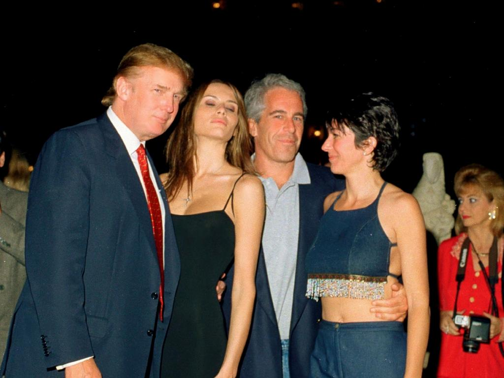 Donald and Melania Trump, Jeffrey Epstein and British socialite Ghislaine Maxwell at Mar-a-Lago in 2000. Picture: Getty Images