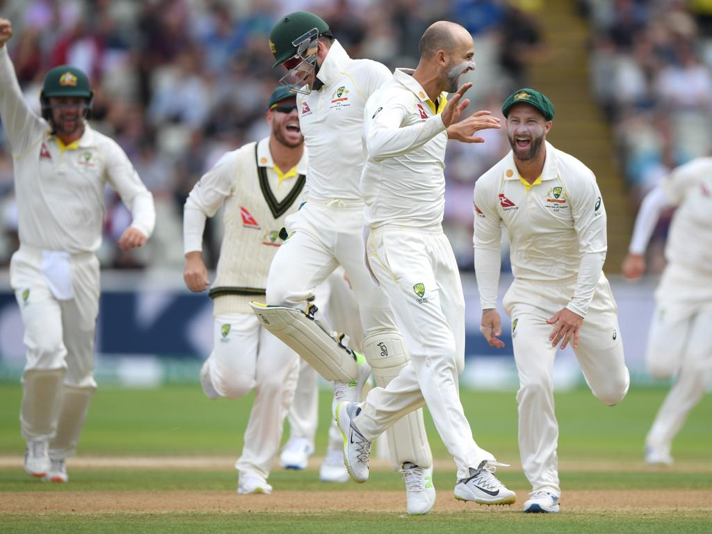 Australia captain Tim Paine celebrates with Nathan Lyon after the pair had combined to dismiss Ben Stokes during the fifth day of the first Ashes Test at Edgbaston on August 05, 2019. Picture: Stu Forster/Getty Images