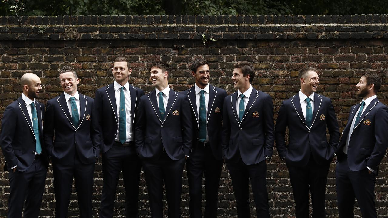 The Australian Bowling group of (L-R) Nathan Lyon, Peter Siddle, Josh Hazlewood, Mitch Marsh, Mitchell Starc, Pat Cummins, James Pattinson and Michael Neser have a 'squad mentality' for the Ashes. Picture: Ryan Pierse/Getty Images