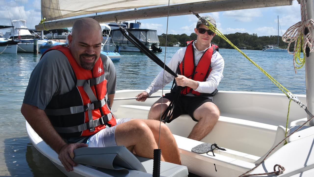 Jason Wellington enjoys Sailability at Noosa River. Photo: Caitlin Zerafa
